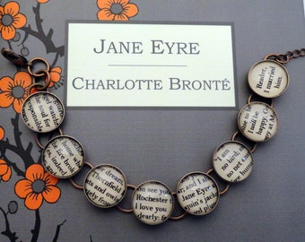 Jane Eyre by Charlotte Bronte book Bracelet in SILVER