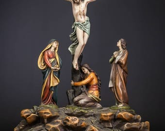 "20"" Antique Crucifixion w Virgin Mary St John St Mary Magdalene Plaster Statue"