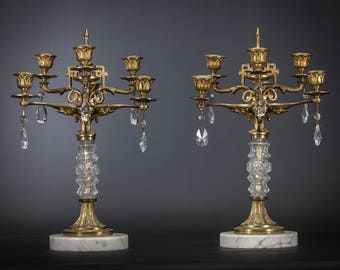 "16"" Pair of Antique Gilded Bronze 6 tier Arms Candelabras Art Deco Candle Holder"