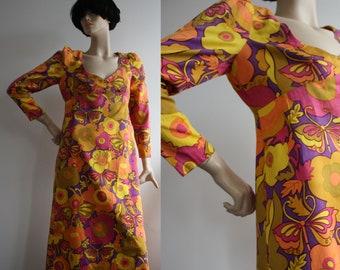 1960s Psychedelic Hippy Print Cotton Sundress UK 10