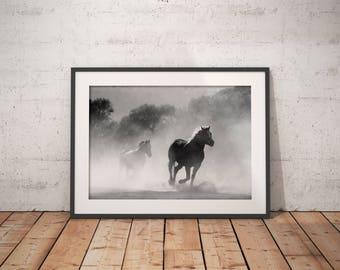 Horses Print, Horses Wall Art Print, Fog, Forest, Running Horses Wall Art