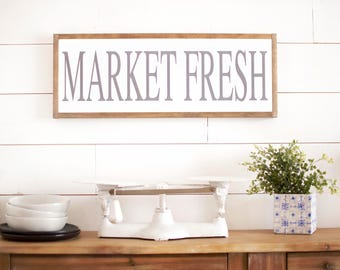 Large kitchen sign, wooden kitchen sign, Kitchen wall decor, Farmhouse Kitchen, market fresh sign, pantry sign