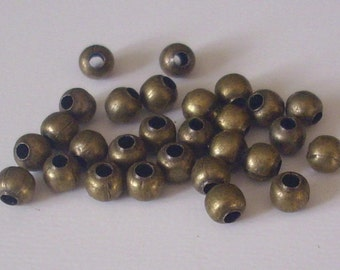 100 beads bronze spacer 4 mm - bead spacer