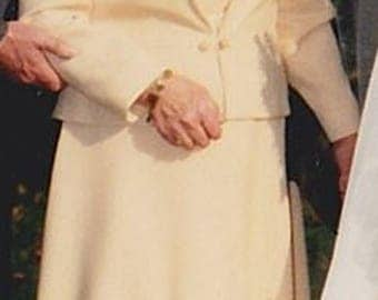 Classic dress suit for a formal occasion, dating from 1986