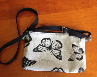 Handbag - Butterfly print handbag with adjustable black  strap, 23 cm x 14 cm. Purse, wallet, Gift for Her, Casual bag, Evening Bag.