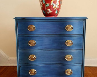 SOLD! FREE SHIPPING! Refinished hand painted refurbished dresser, chalk painted, distressed dresser, furniture, blue dresser