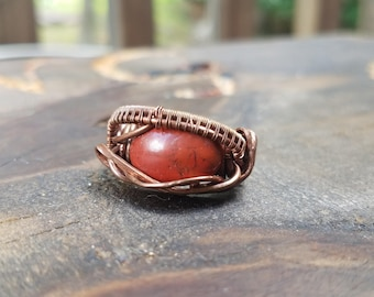 Copper and Red Jasper Wire Wrapped Rings Size 6.5