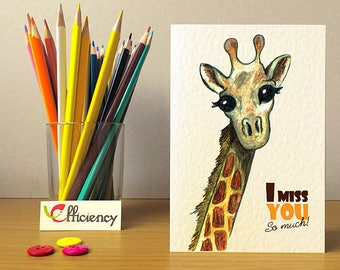 Miss You Card. Drawn Giraffe with big eyes. Greeting sweet Card. This Giraffe is kind!