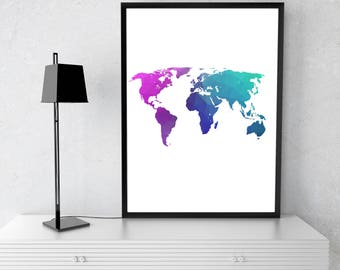 World Map, Wall Print, Colorful Print, Colorful Map, Map of the World, World Map Print, World Print, colorful World, Travel Art, Home Decor