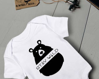 Baby Outfit/ Stay Wild/ Baby Bear Onesie/ Baby Onesie/ Funny Baby Onesie/ Baby Boy Onesie/ Baby Boy Clothes/ Baby Shower Gift/ Baby Bodysuit