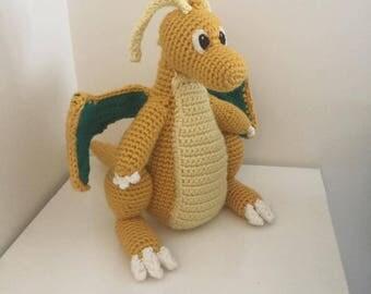 "Crochet Dragonite Plush Amigurumi Pokemon 13"" Tall"