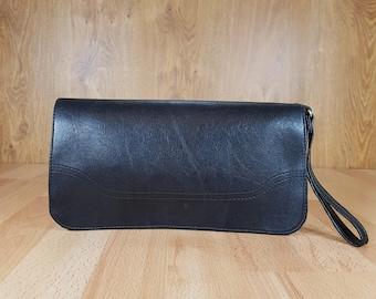 Evening bag - Evening leather bag - Elegant bag - Wedding bag - Black skin.