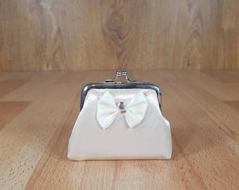 Coin purse, Silk pouch, Coin bag with ribbon.