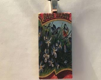 Vintage Flower Label Pendant on Black Satin Necklace Ideal Teacher Gift Boho/festival/indie