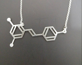Resveratrol molecule necklace Resveratrol necklace gift for wine lover antioxidant necklace