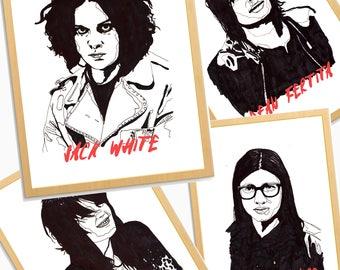 The Dead Weather - Jack White, Alison Mosshart, Dean Fertita, Jack Lawrence, Print, Poster, Illustration, Third Man Records