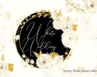 """Floral clipart, Wedding clipart, """"Floral clipart"""", Wedding floral clipart, Watercolor flower clipart White wedding floral Wedding invitation"""