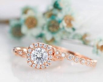 2PCS Vintage Art deco moissanite engagement ring antique Unique Halo diamond wedding ring set Bridal Half eternity Alternative Milgrain