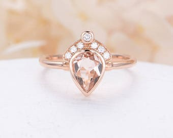 Morganite ring Rose gold engagement ring Pear shaped engagement ring Unique Crown Diamond wedding Bridal Jewelry Anniversary gift for women