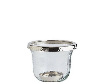 Small Glass & Metal Hurricane, Glass Finish With Metal Furnishing Table Top Candleholder