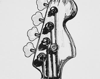 Bass Guitar Machine Embroidery Design Digital file. 5x7/6x10 Sizes