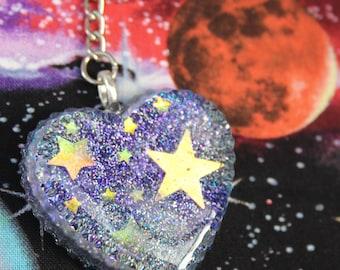 Holo Magical Space Heart Keychain