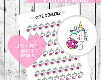 Unicorn stickers, Planner Stickers, Printable stickers, Donut printables, Kawaii printables, Kawaii stickers