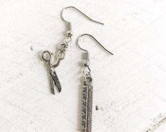 Scissor and Ruler Charm Earrings, Mismatch Earrings, Scissor Earrings, Ruler Earrings, Scissor, Ruler, Fish Hook Earrings, Mismatch Jewelry