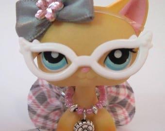 Littlest Pet Shop clothes LPS accessories Custom NERD Lot Pink CAT Not Included