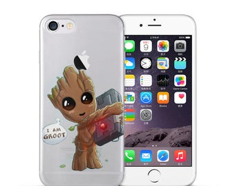 Baby Groot Guardians of the Galaxy Super Hero Cartoon Raccoon Comics Clear Soft TPU Case For iPhone 7 7 Plus 6 6S Plus 5 5S SE Fundas Coque