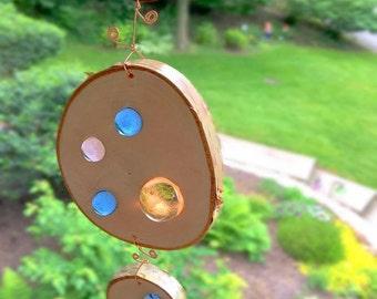Suncatcher/garden art-Peach/Periwinkle