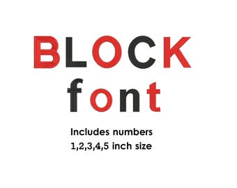 Block Embroidery Font Design - 5 sizes Font Monogram - Block Monogram Fonts - block Embroidery Font - Instant Download