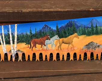 Custom Hand Painted Oil Painted  One Man Cross Cut Saw Blade Horse Horses Rearing Horses Western Mountains Aspen Trees Snow 42 inches Long