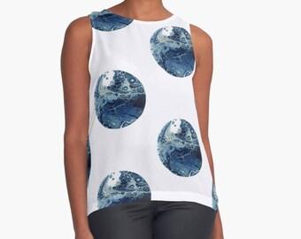 Original Art Print Contrast Tank Top Shirt - Blue Moon