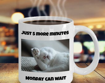 Silly Cat Mug - Kitty Cat Sleeping - Nooo, Just Five More Minutes - Monday Can Wait, Gift Mug