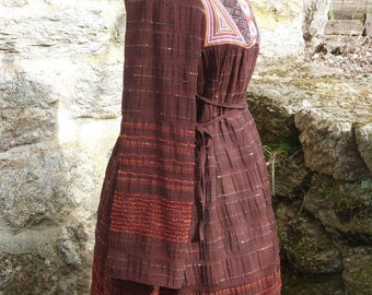 """Ethnic"" rust dress style ""hand woven"" with embroidered patch"