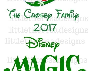 Disney Cruise Line Transfer  Green With Snowflakes,Digital Transfer,Digital Iron On,Diy