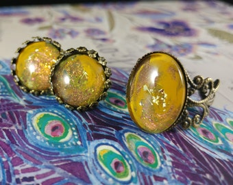 Lichen, Bronze ring and earring set