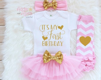 First Birthday Outfit Girl, 1st Birthday Girl Outfit, Pink and Gold Cake Smash Outfit, Girl 1 Birthday Princess Birthday Outfit, B14P