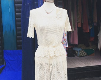 SALE 1930s crochet blouse and skirt   REDUCED