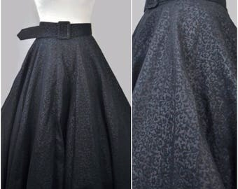 Vintage 1950s Black Brocade High Waist Circle Full Skirt Matching Thick Belt & Buckle