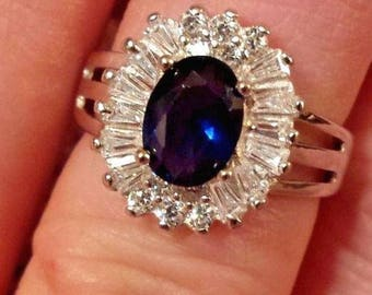 Vintage Blue Sapphire & White Topaz Oval and Baguette Cut Gemstone Sterling Silver Ring, 2.5 ct.  Size - 6
