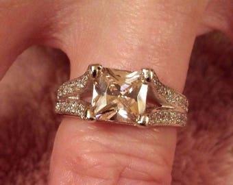 Vintage  Pink Sapphire & White Topaz Princess Cut Gemstone Sterling Silver Ring, 3 ct. Size - 6