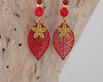 Red and gold with leaves and flowers (BO135) dangling earrings