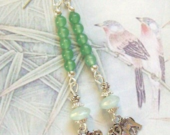 Silver beads jade lucite elephant earrings