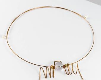 Quartz necklace, Quartz pendant, Stone necklace, Stone pendant, Gemstone necklace, Gemstone jewelry, Bronze necklace, Minimalist necklace