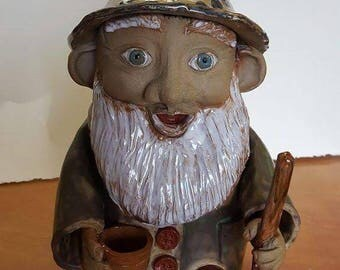 Large Stoneware Gnome with Pot and Shovel
