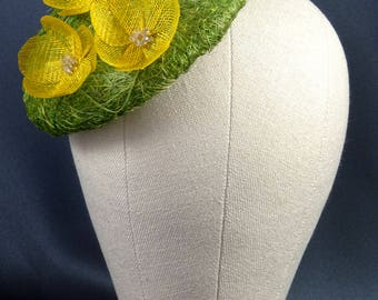 Green and yellow fascinator hat, quirky occasion hat, buttercups headpiece