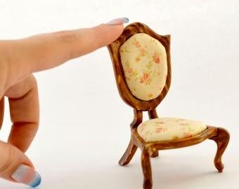 Wooden doll chair / for 1:12 BJD dolls (PukiPuki, Realpuki, etc.) / BJD furniture / DollHouse miniature / vintage doll chair