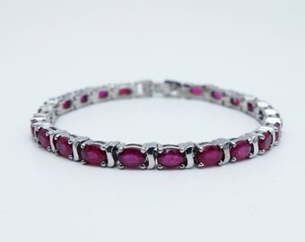 Ruby Bracelet in 925 Sterling Silver